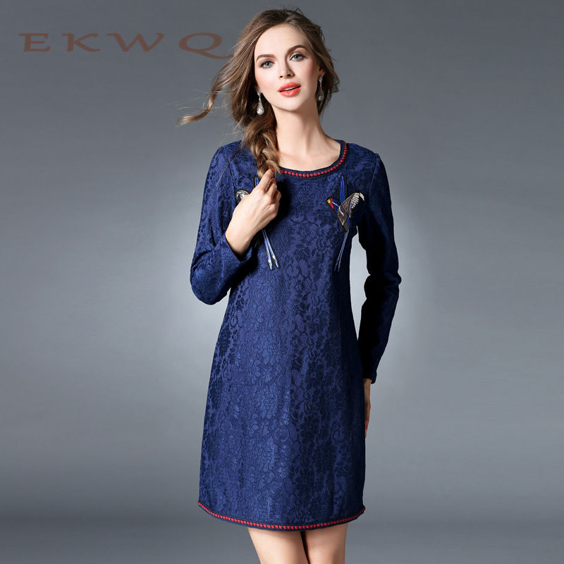 EKWQ2016 new winter ms. european and american youth fashion casual long sleeve embroidery bud silk large size women 0258