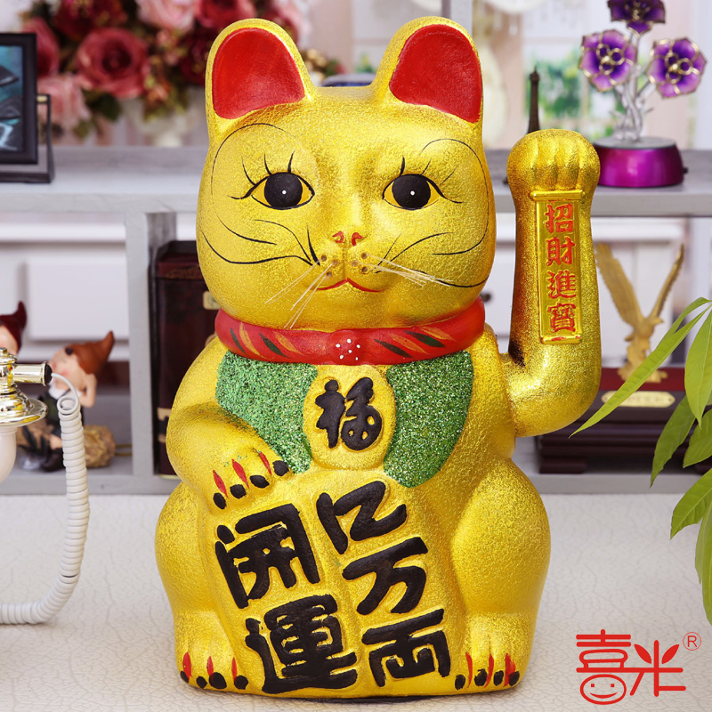 Electric ceramic lucky cat lucky cat five cat lucky cat waving golden ornaments opening new stores opening gifts more than size