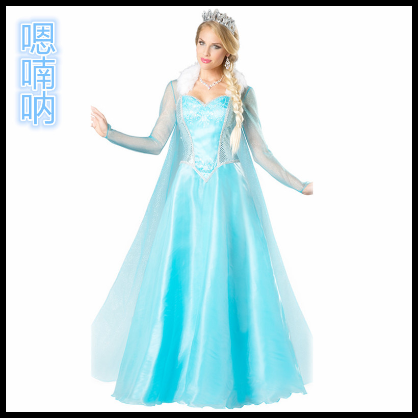 Elegant luxury princess aisha frozen frozen blue palace halloween costumes female wang dress stage performance clothing