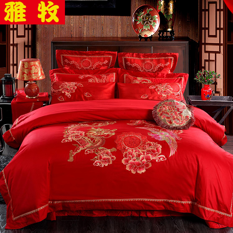 Elegant pastoral textile cotton satin big red dragon and phoenix wedding wedding ten sets of pieces of sets of bedding package