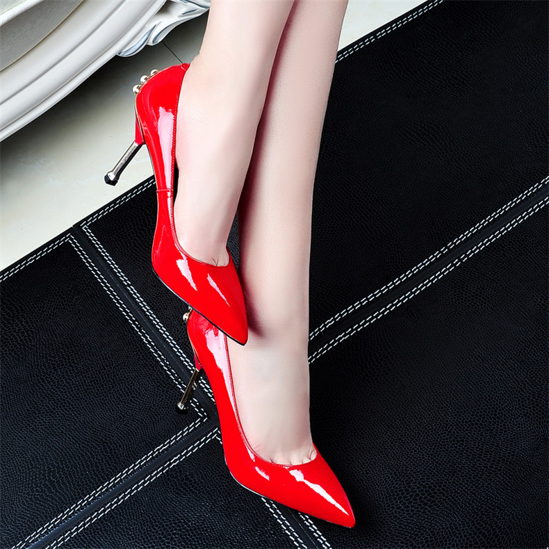 Elegant temperament patent leather fine with red wedding shoes bridal shoes 8cm heels pearl tip head banquet shoes tide shoes