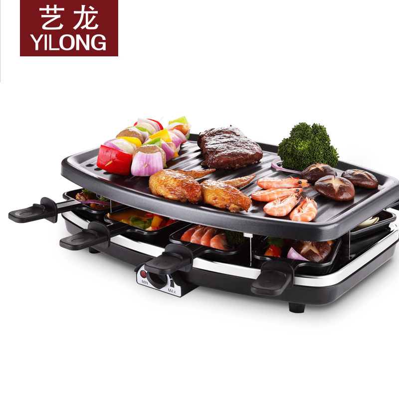 Elong household electric grill electric oven electric hotplate nonstick double gamberoni nonstick smokeless barbecue machine