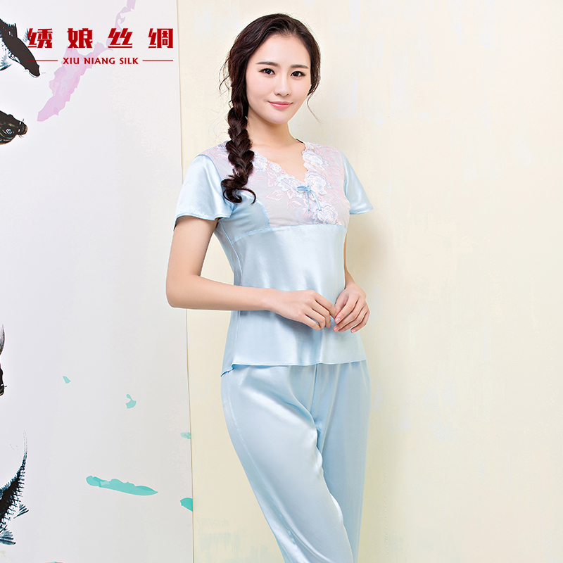 72b1f4546b Get Quotations · Embroidered mother silk v-neck lace pants placket sleeve silk  pajamas female summer thin section