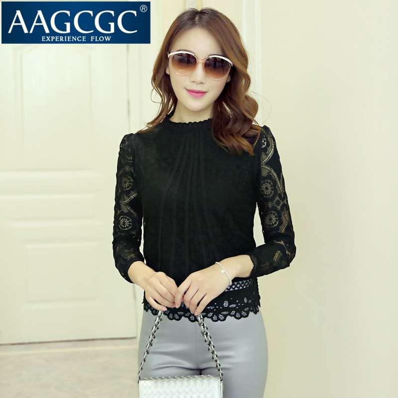 End custom aagcgc fall short paragraph bottoming slim was thin coat 2016 long hollow sleeve lace shirt 9200