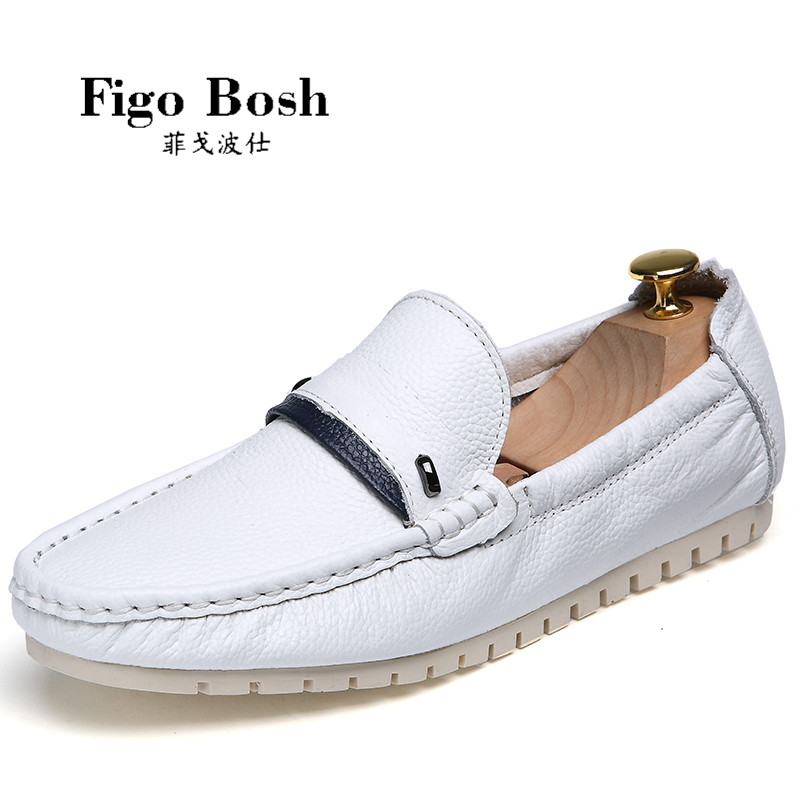 End custom brand figobosh 2016 autumn british style round set foot men's leather shoes peas