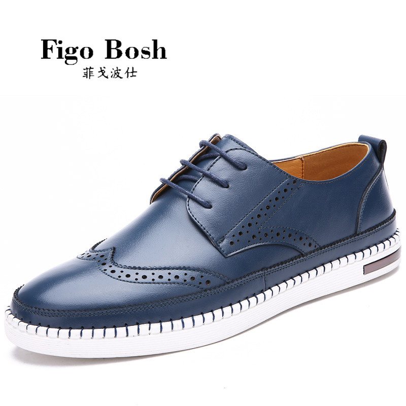 End custom brand figobosh 2016 autumn england men's leather business shoes lace round