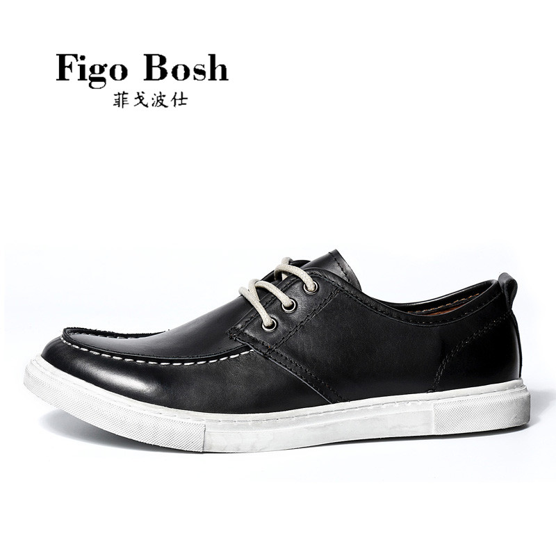 End custom brand figobosh 2016 autumn new round leather lace casual shoes tooling shoes