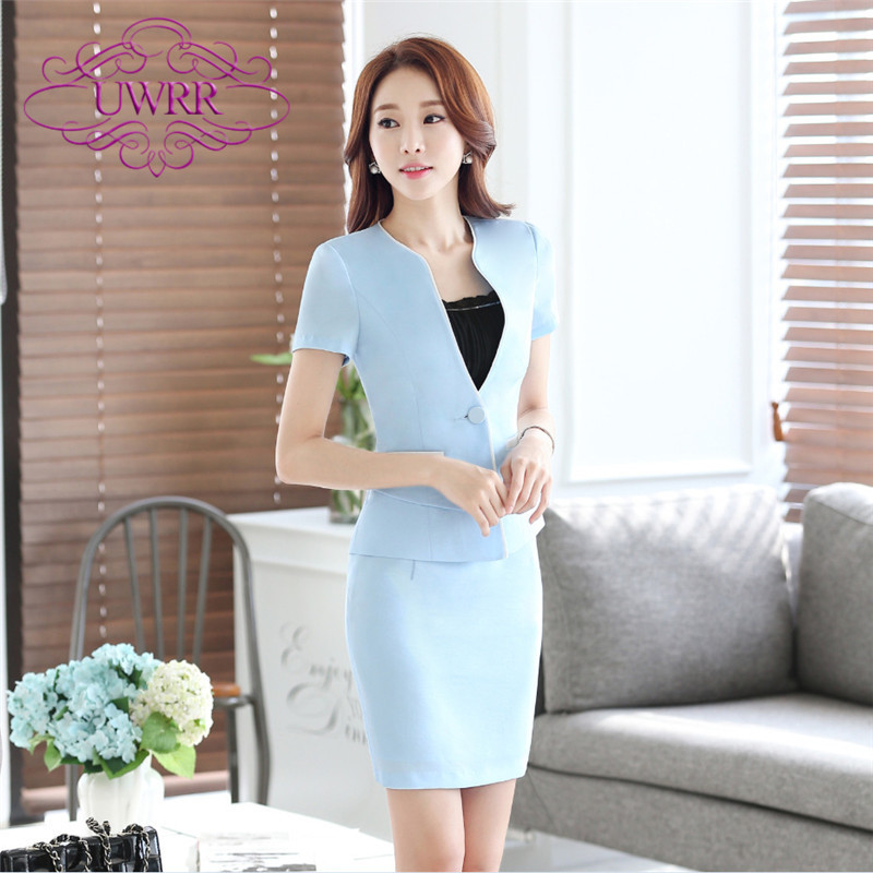 End custom brand uwrr new short sleeve skirt suit korean fashion ol career temperament was thin women