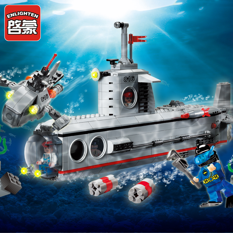 Enlightenment building blocks of small particles assembled model educational toys for children aged boys military series of submarines 816