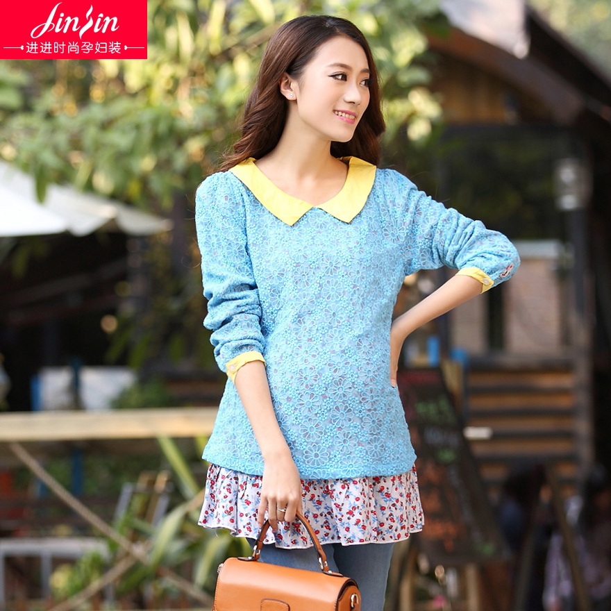 Enter the maternity tops spring fashion korean pregnant women in spring and autumn 2016 new wave of pregnant women spring blouse bud silk
