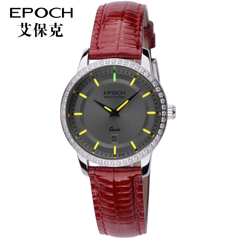 Epoch ai palk gaseous tritium light luminous diamond quartz watch female female form thin waterproof leather
