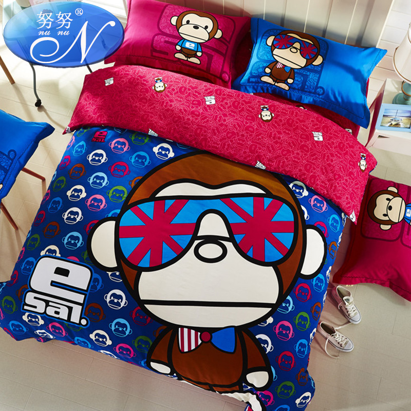 Esal big mouth monkey cartoon family of four thick brushed cotton bed linen quilt children 1. m bed cotton boys