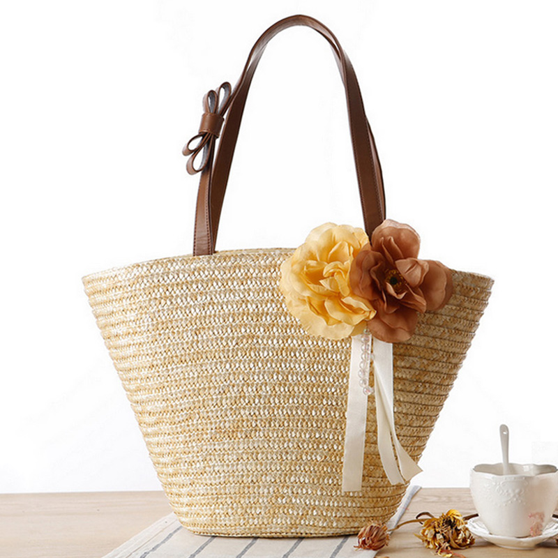 Essential seaside resort beach bag large capacity woven straw bag shoulder bag big bag woven bag hand bag handbag flowers