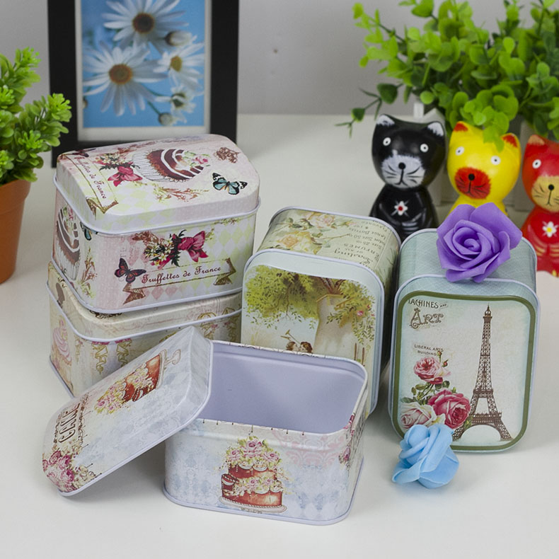 Etee easter desktop glove box storage box storage box cosmetic box with lid arch small tin tin box