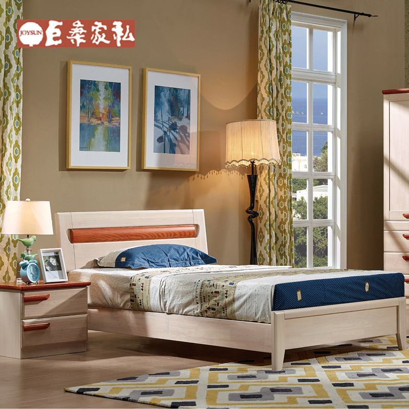 Eton巨桑furniture series 1.2 m white wood bed children's beds bedroom nightstand combination ej03