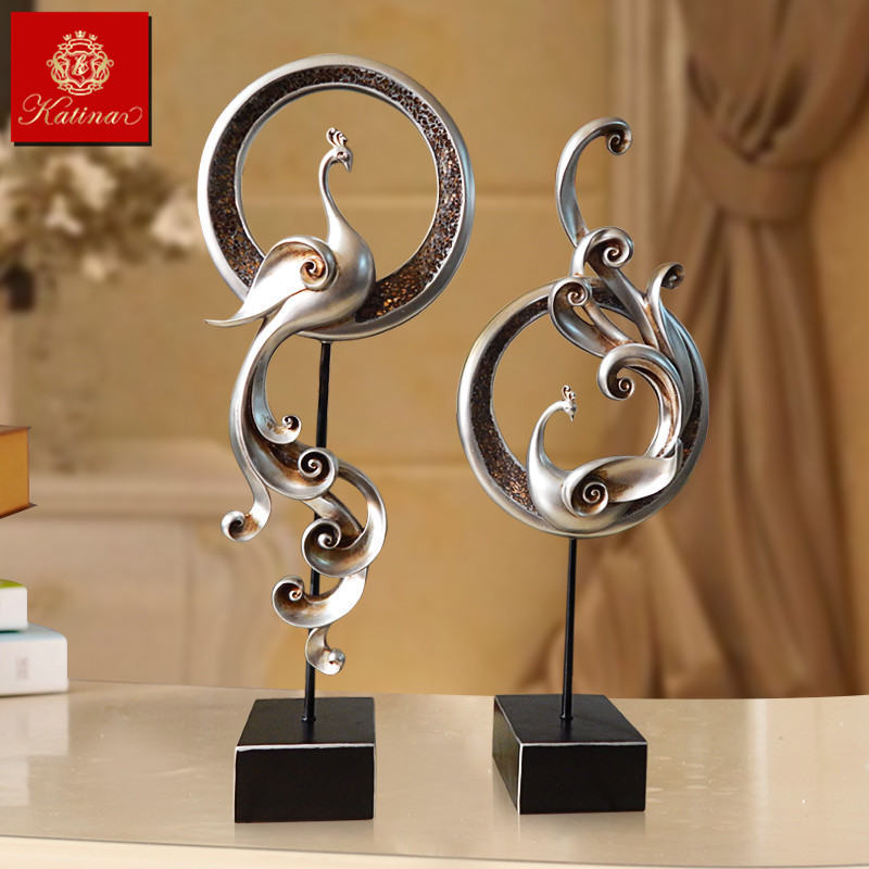 å¡æå¨euclidian double phoenix resin animal ornaments soft home decorations creative gifts housewarming crafts
