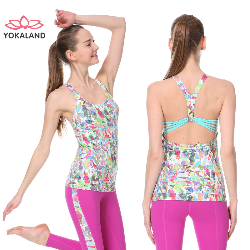 Eukanuba lotus yoga clothes shirt printing even more clothes 2016 spring and summer new fashion beauty back vest fitness OTW001