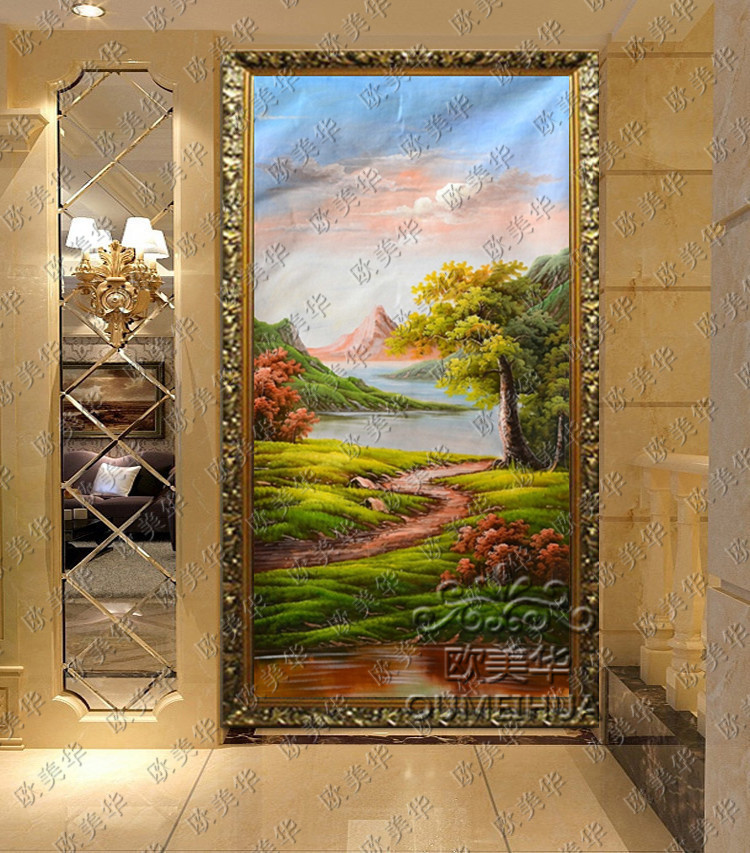 Europe and the united states china pure hand painted oil painting classical landscape painting framed painting the living room entrance continental hotel restaurant with paintings