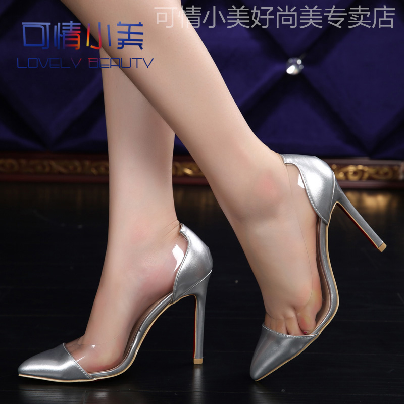 Europe and the united states pointed super high heels shoes fine with patent leather sandals nude color shoes shallow mouth sexy nightclub large size shoes silver