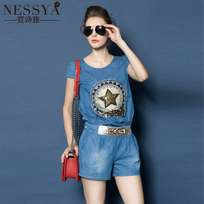 Europe station 2016 summer new fashion ladies suit women's short sleeve denim shorts piece leisure suit