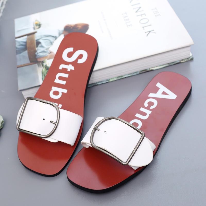 Europe station 2016 summer new leather flat sandals and slippers female sandals word buckle belt buckle fashion outer wear female tide