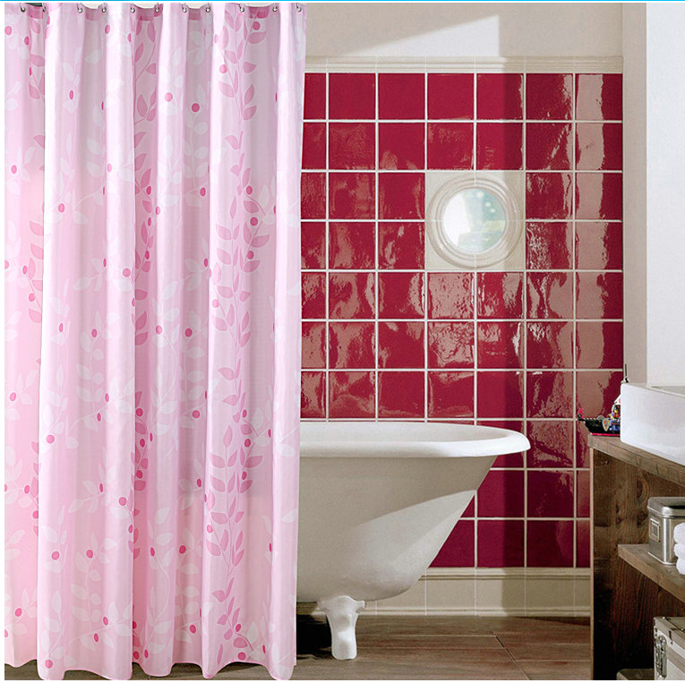 Europe when cleaning charm pink shower curtain bathroom shower curtain bathroom shower curtain mildew waterproof polyester shower curtain shower curtain thick shipping