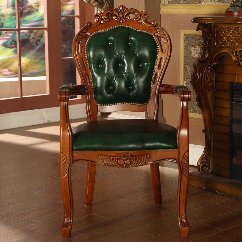 Get Quotations · European american wood dining chair carved antique  armchair leather chair chair chair tea chair chair lounge - China Antique Wood Leather, China Antique Wood Leather Shopping