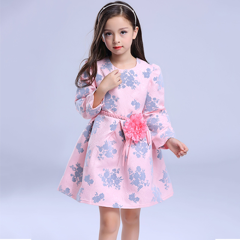 European and american children dress 2016 autumn new children's clothing girls dress printed long sleeve princess dress children