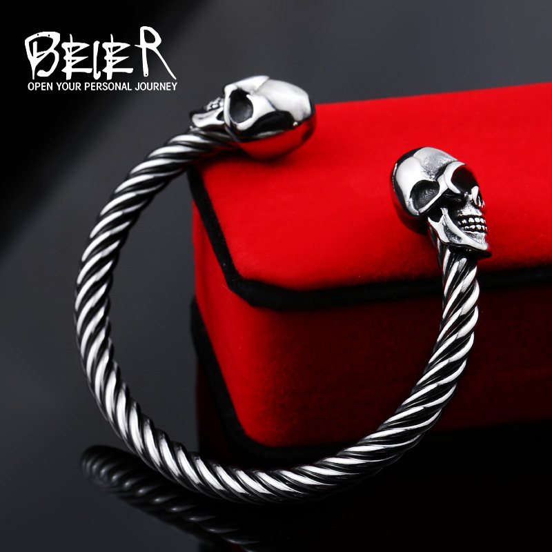 European and american fashion domineering men titanium steel bracelet rope punk skull bracelet jewelry to send a friend to live