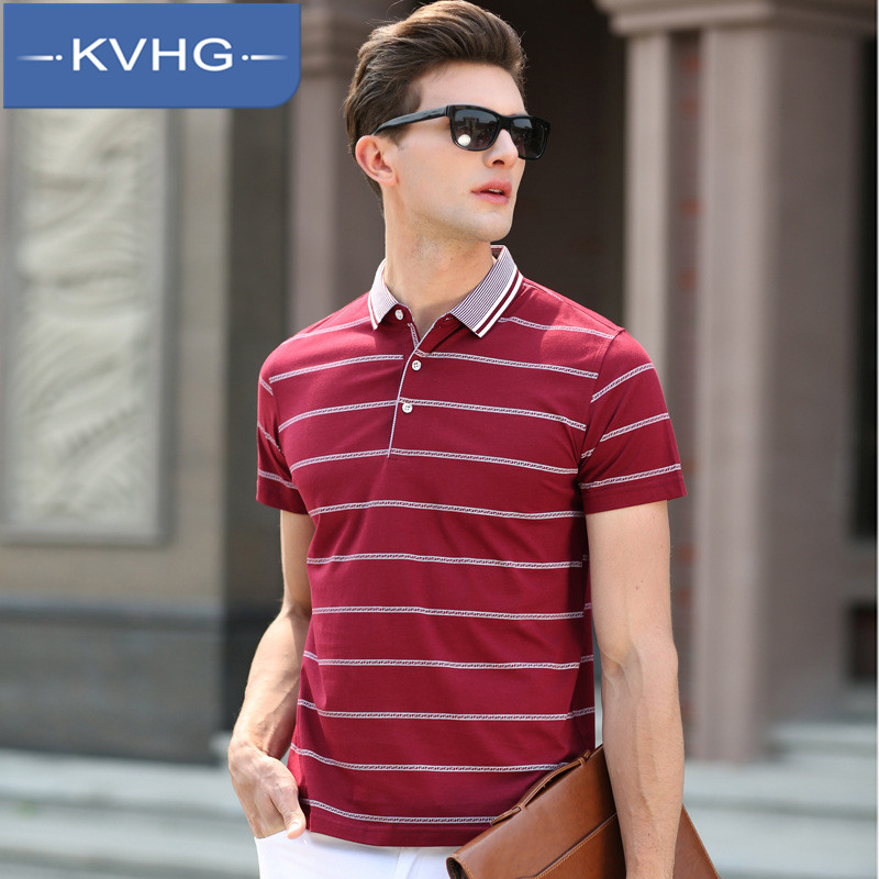 European and american fashion kvhg striped t-shirt 2016 summer new middle-aged business casual polo shirt lapel 1995