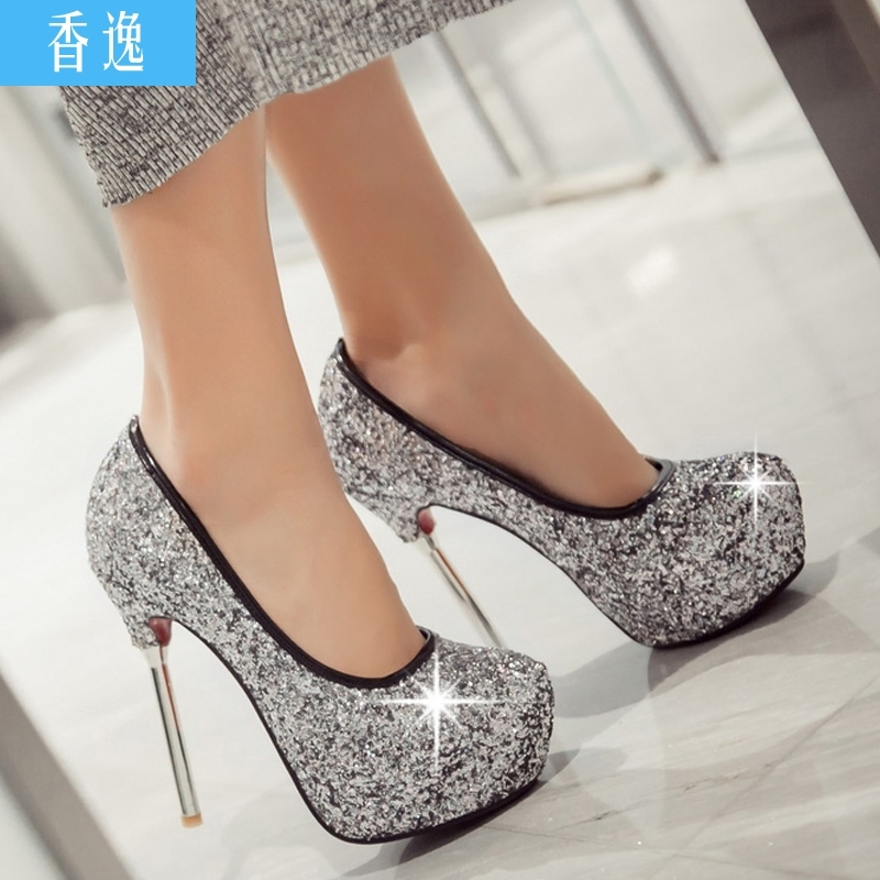 European and american sexy white sequined wedding shoes super high heels fine with waterproof shoes bridesmaid shoes party shoes women set foot shoes