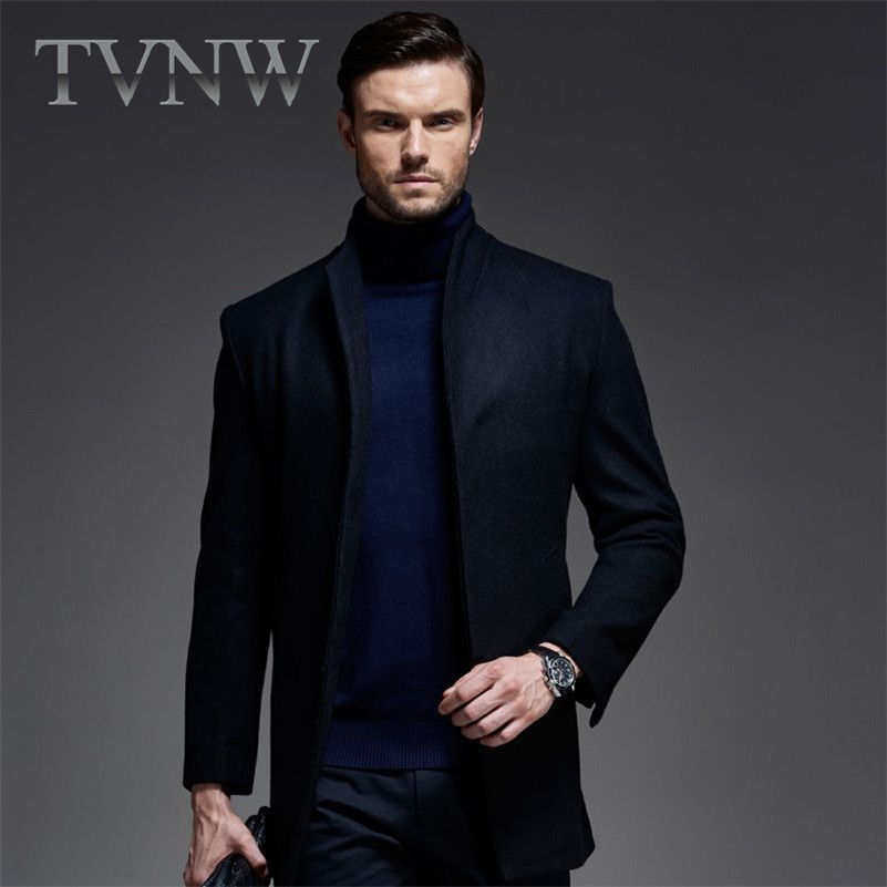 European and american style tvnw urban fashion woolen coat and long sections straight hem slim woolen men's casual windbreaker 3738