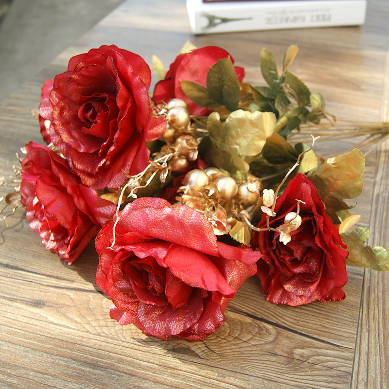 European artificial flowers roses bouquet of artificial flowers artificial flowers home living room decorations plastic flowers artificial flowers dried flowers inserted single branch