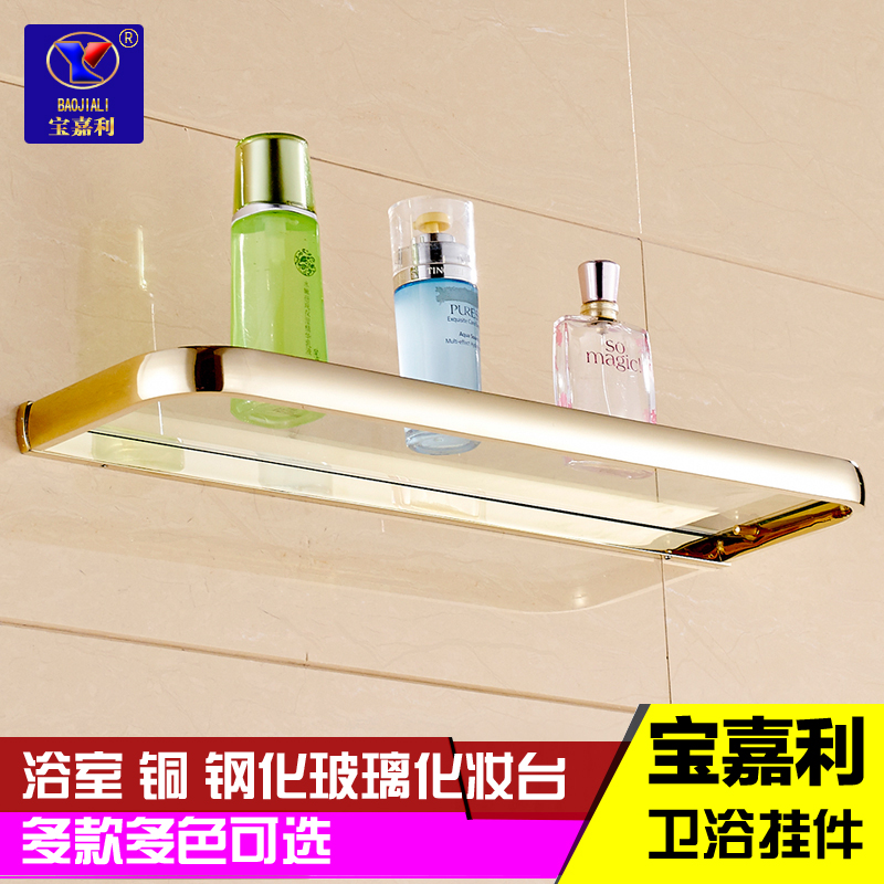 European bathroom full copper plated rose gold antique bathroom vanity cosmetic single layer of glass shelf