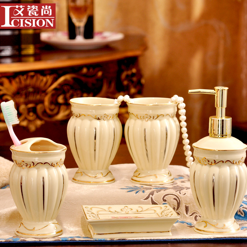 European ceramic sanitary wujiantao bathroom wash suit couple brushing cup creative wedding gift to send wedding four sets of 5