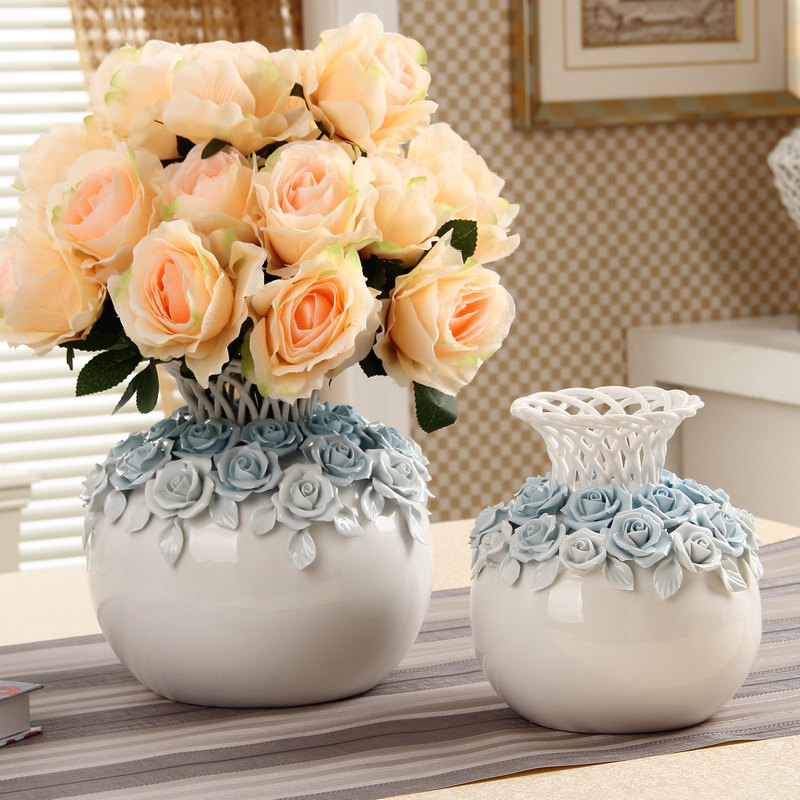 European ceramic vase ornaments creative home decor living room with large flower flower arrangement device industrial arts and crafts furnishings wedding gifts