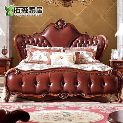European classical solid wood double bed bedroom furniture leather bed neoclassical american country style bed h