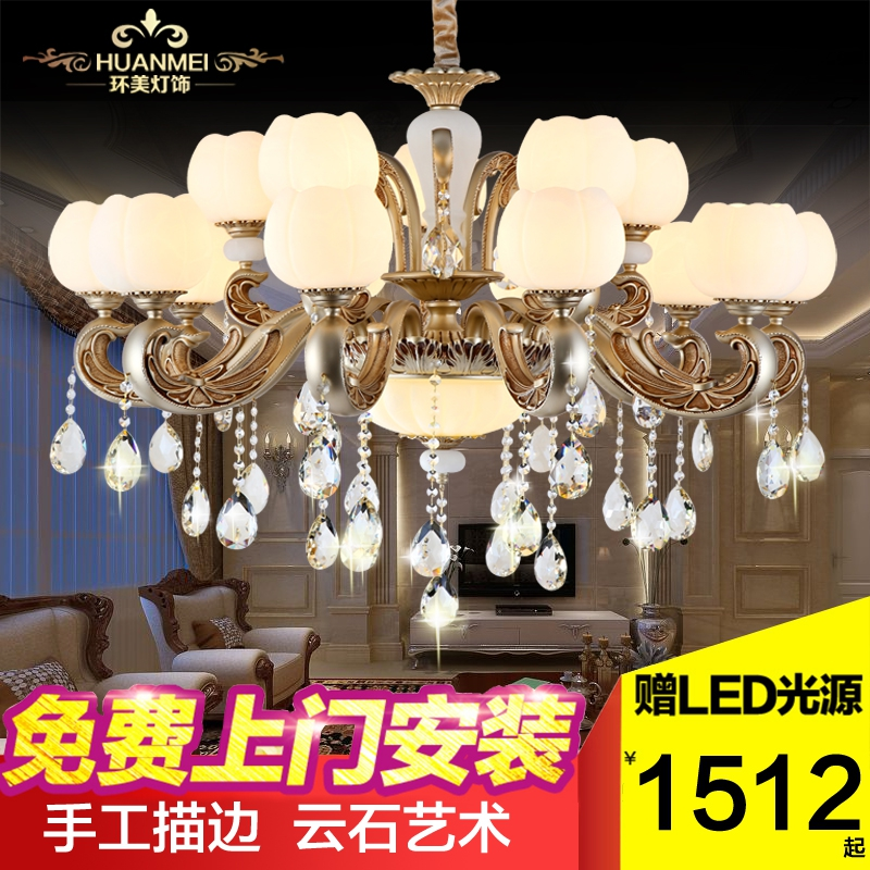 European crystal lamp chandelier lamp living room dining zinc alloy bedroom american marble atmosphere bedroom lighting candles