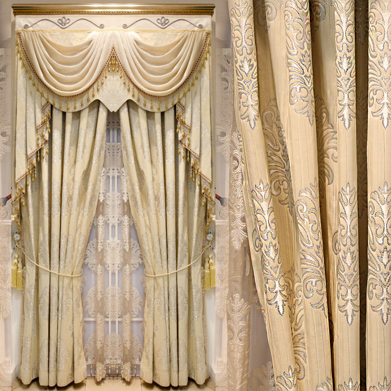 European custom curtains living room curtains finished minimalist modern luxury bedroom curtains shade cloth