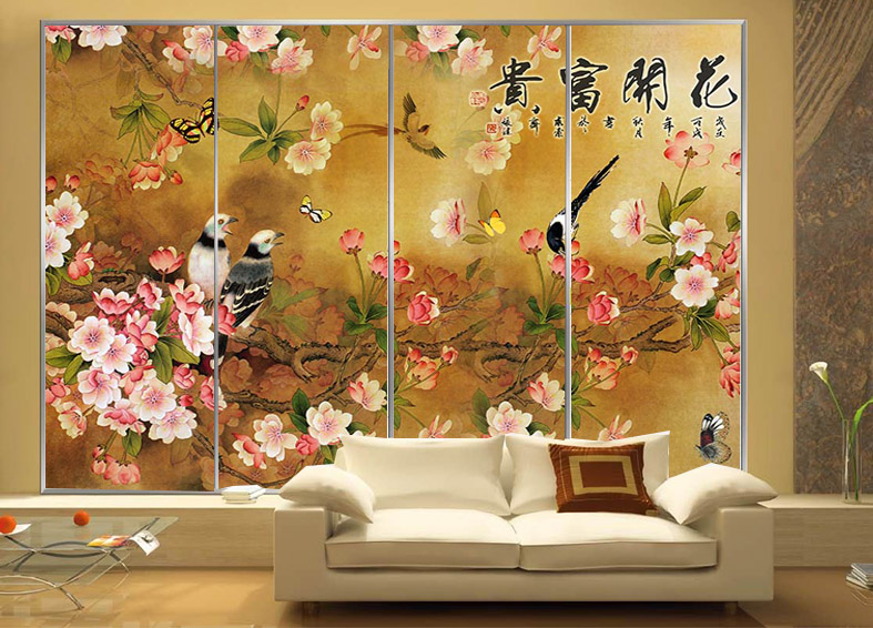 Get Quotations · European Custom Painting Waterproof Bathroom Window  Stickers Glass Stickers Affixed Stickers Wardrobe Sliding Door Stickers  Blossoming