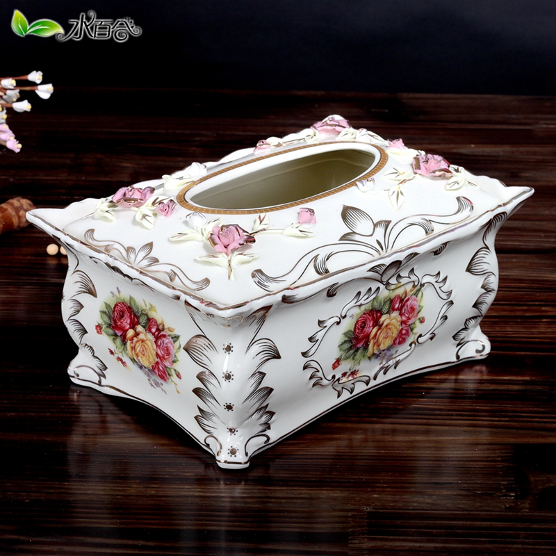 European decorative ceramic tissue box creativity pumping pumping paper carton box large dining table meal box of roses gilt decoration