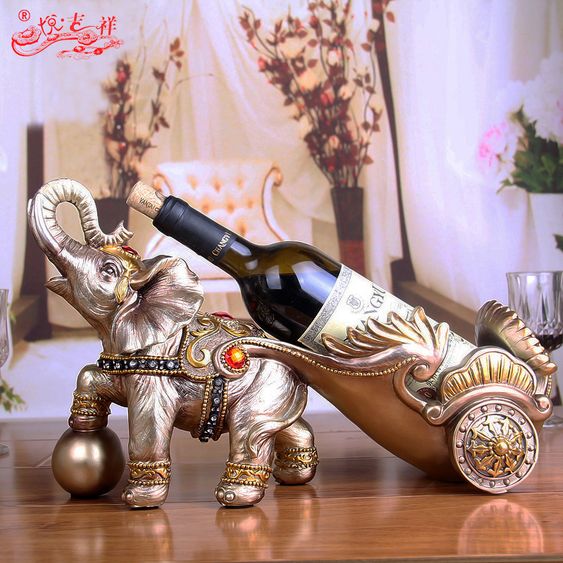 European elephant vintage wine rack wine rack wine lucky craft ornaments wedding gift ornaments home living room creative work
