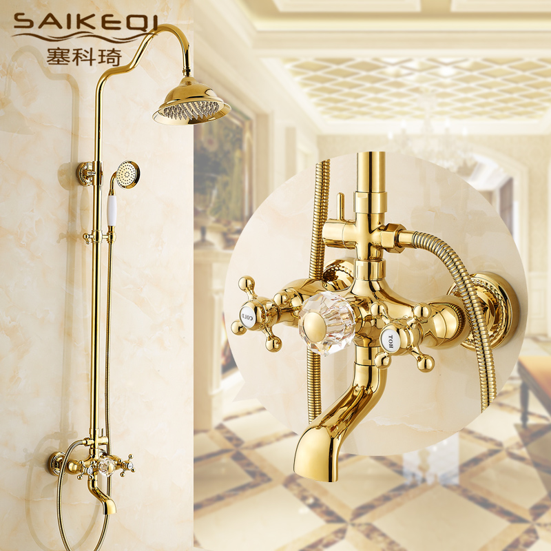 European golden gold-plated lift the whole copper shower the whole bathroom suite shower bathroom faucet hot and cold rain shower nozzle pressurized by