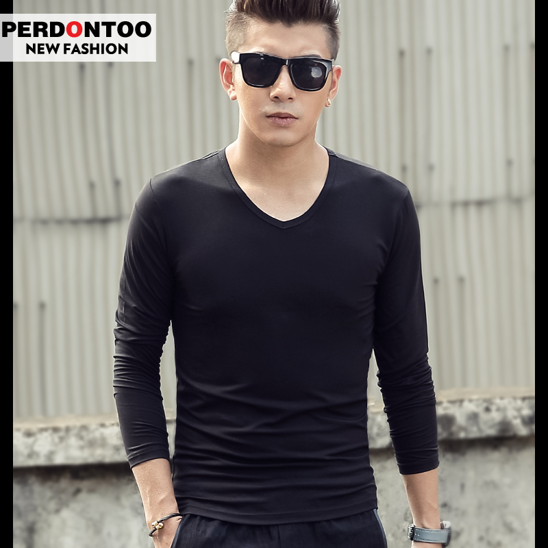 European grand prix modal mercerized cotton men's long sleeve v-neck t-shirt bottoming shirt solid color repair clothes male compassionate autumn