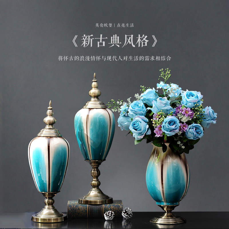 European home accessories ornaments ceramic vase decorated living room modern creative crafts flower floral suit