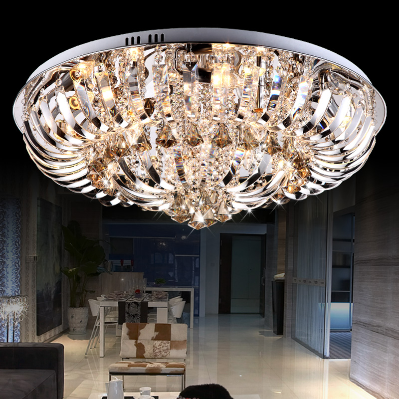 European led crystal ceiling modern minimalist living room lights round crystal lamp living room bedroom lighting fixtures restaurant