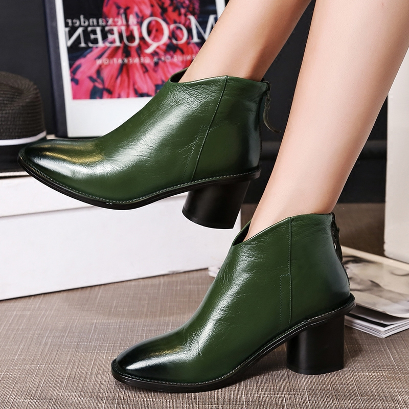 618613a8931 Get Quotations · European leg of the autumn and winter retro rub color leather  boots martin boots female army
