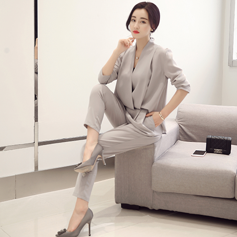 European leg of the new 2016 summer korean fashion slim was thin chiffon sleeveless piece two piece suit fashion suit