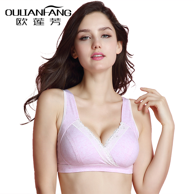 European lianfang cotton big yards thin section full cup bra gather sleep no rims summer girls sports underwear
