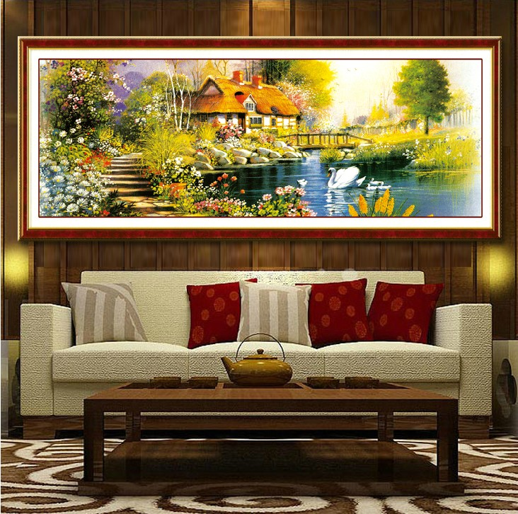 European painting the mona lisa stitch dream garden cottage homes substantial new living room large painting landscape painting